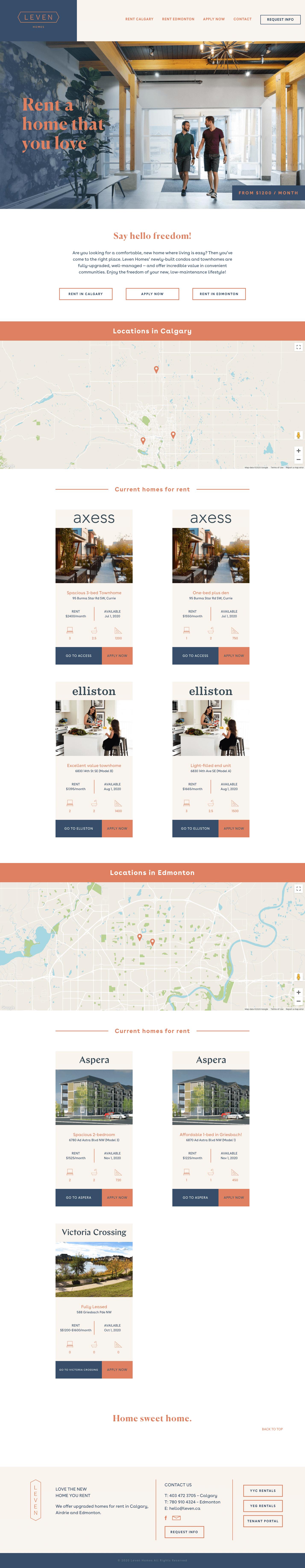 Leven Homes Website