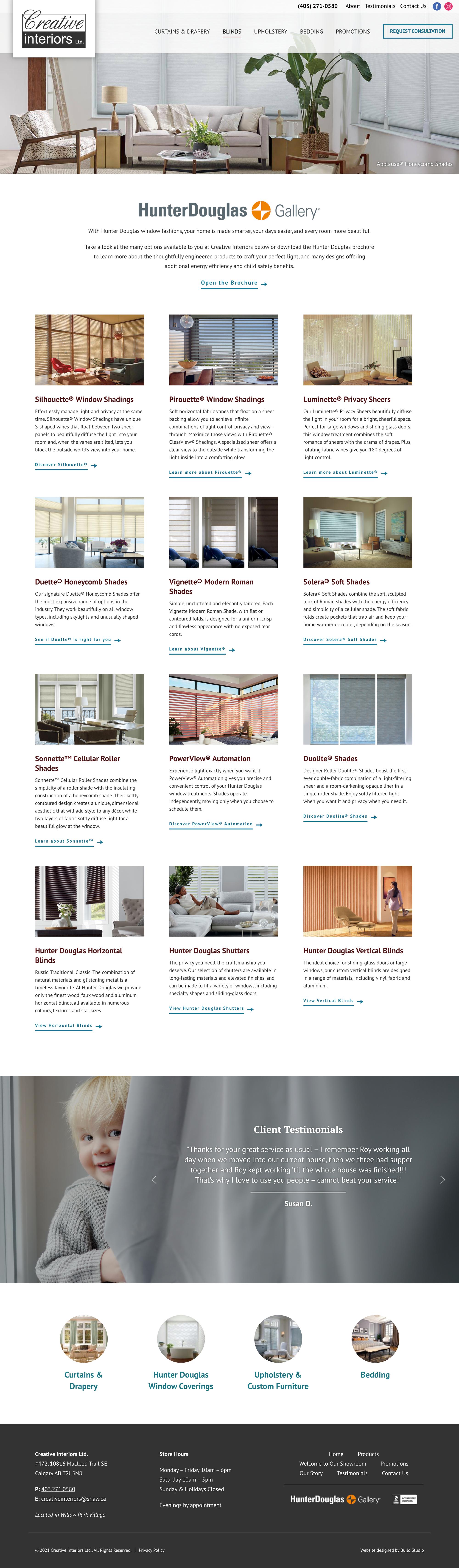 Creative Interiors Calgary Website Blinds