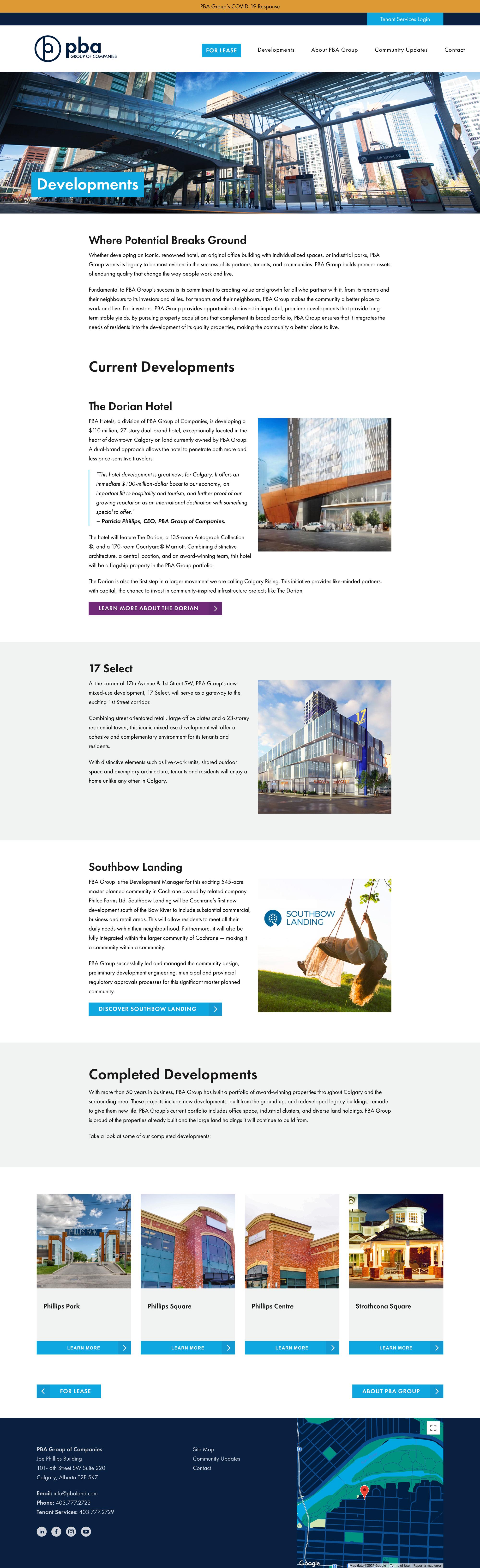 PBA Group Website Developments